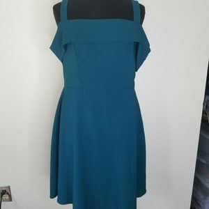NSR Teal Dress S Cold Shoulder Fit Flare Mini Cute